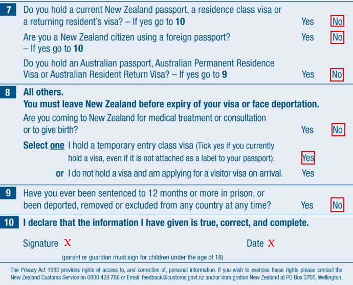 passenger arrival card nz 4